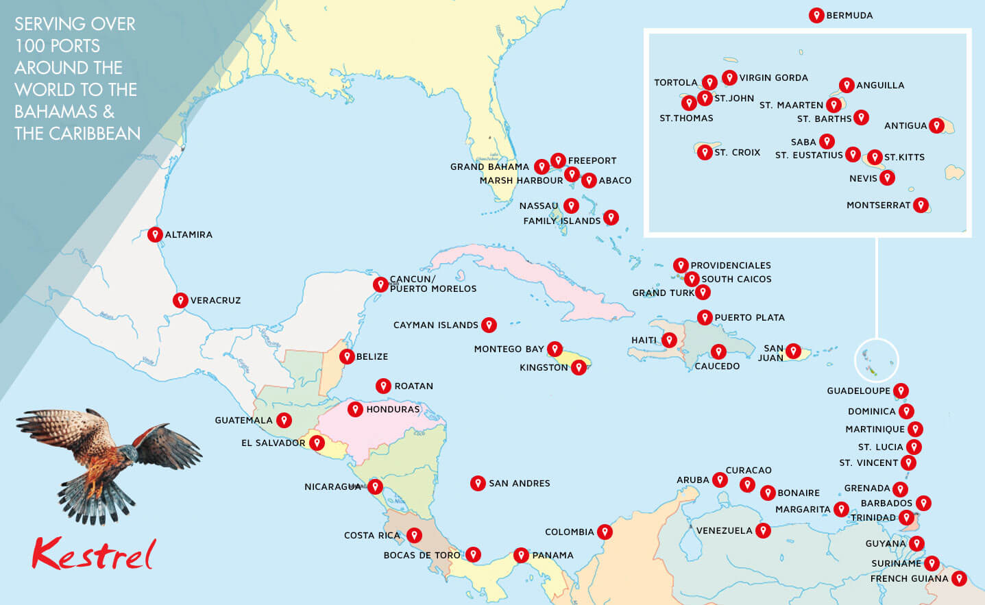 Map showing locations of Caribbean ports served by Kestrel Caribbean Shipping services