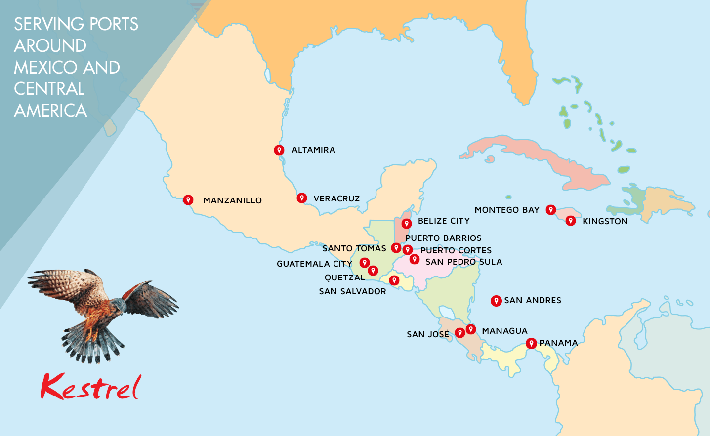 map showing locations of mexican central america ports served by kestrel caribbean shipping services